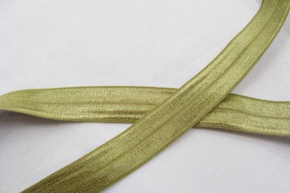 Elastikkantebånd olivengrøn 2 cm. br.