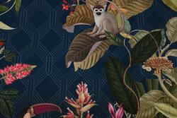 Flot deko-stof i petrolfarvet, mellemsvær bomuld med jungleblade, fugle og aber