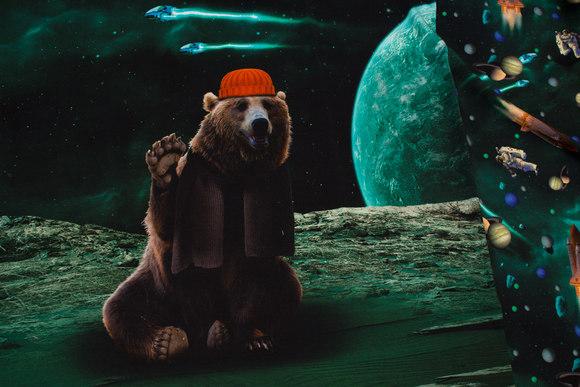 For- og bagstykke til trøje med Bjørn på månen, bomuldsjersey