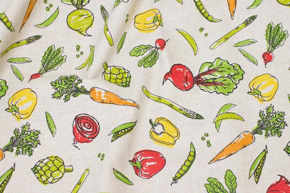 Hørfarvet Deco-stof med grønsager