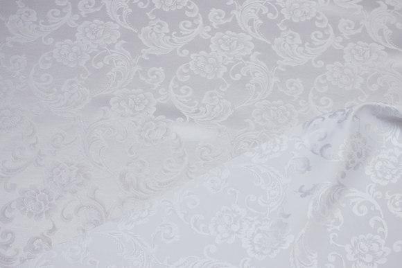 Hvid jacquardvævet polyester satin med blomstermotiv