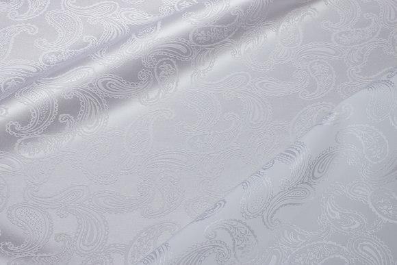 Hvid jacquardvævet polyester satin med Paisleymønster