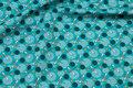 Jadegrøn, økologisk patchworkbomuld med ca. 25 mm guldsmede.