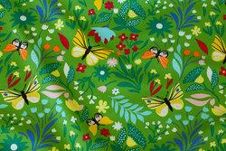 Let joggingstof i klar grøn med sommerfugle