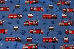 Mellemblå bomuldsjersey med ca. 7 cm brandbiler