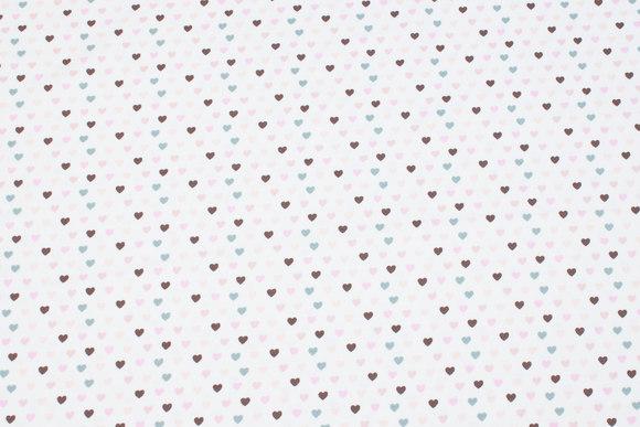 Off white bomuldsjersey med små hjerter i rosa og grå