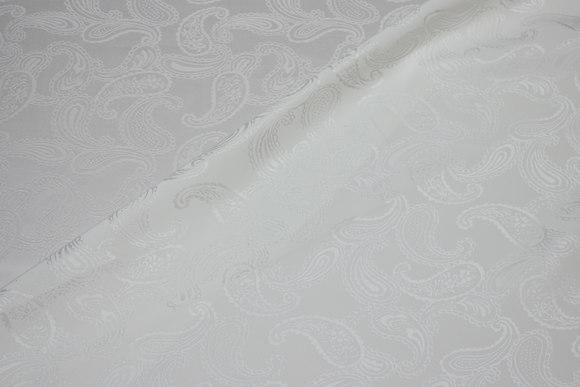 Off white jacquardvævet blank polyestersatin med Paisleymønster
