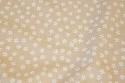 Sandfarvet bomuld med små hvide blomster