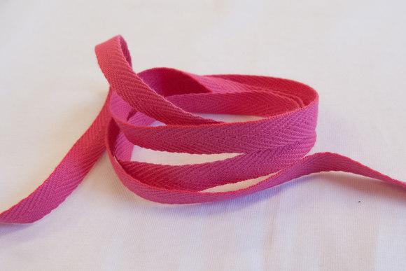 Sildebensvævet bomuldsbånd pink 1cm