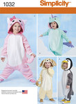 Simplicity 1032. Dyreudklædning til børn.