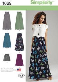 Lange nederdele og buksenederdele. Simplicity 1069.