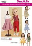Simplicity 1086. Tøj til stor dukke, kjole, nederdel.
