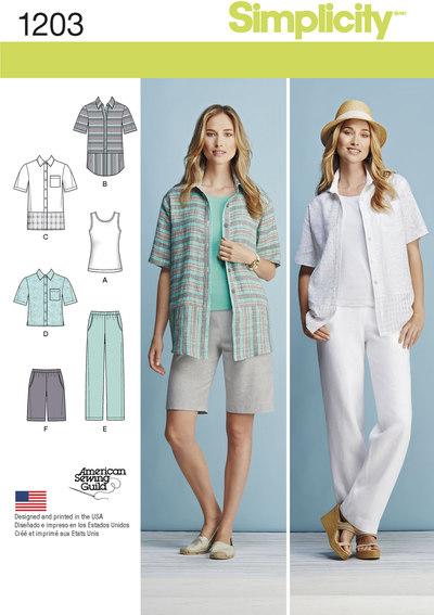 Skjorte, top, bukser og shorts