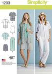 Simplicity 1203. Skjorte, top, bukser og shorts.