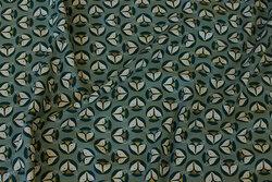 Støvgrøn bomuldsjersey med ca. 2 cm rævehoveder