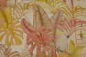 Deko-bomuld i hørfarvet med store gyldne blade og kakaduer