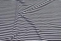 Tværstribet sort og hvid bomuldsjersey med 5 mm striber