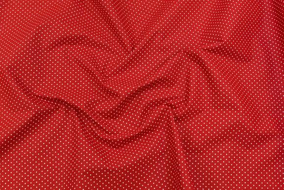 Bomuld i rød med hvide prikker