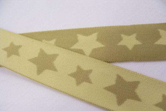 Blød kiwigrøn elastik med stjerner 3cm