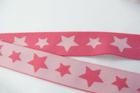 Blød pink elastik med stjerner 3cm