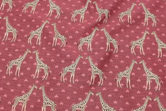 Cerise møbelstof med giraffer