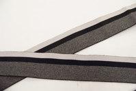 Elastik 4 cm grå med grå og sort strib