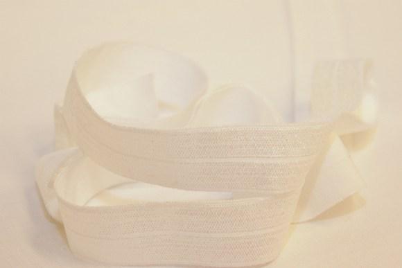 Elastik kantebånd - hvid 2 cm. br.