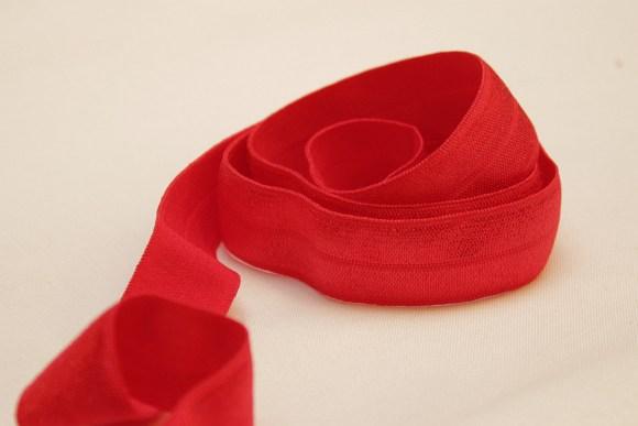 Elastik kantebånd - rød 2 cm. br.