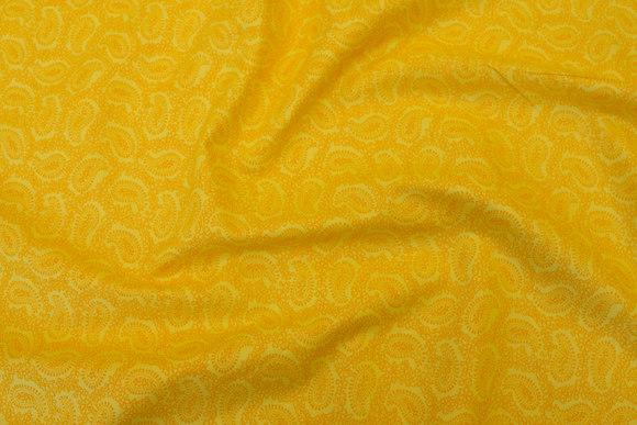 Gul bomuld med Paisley mønster