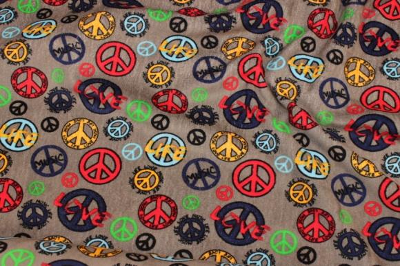 Jordfarvet stretch-velour med Peace-motiver