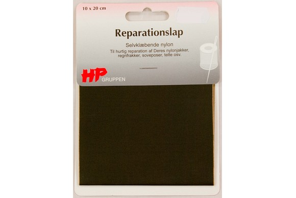Mørk oliven nylon reparationslap 10 x 20 cm