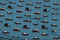 Petrol bomuldsjersey med sorte biler