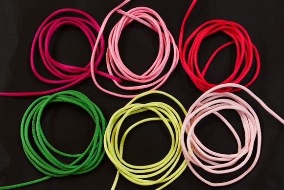 Satinsnor i pink, lyserød, rød, grøn, lime