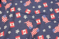 Stretch-denim med USA og Canada motiver