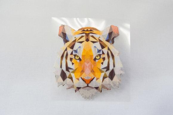 Tiger hoved holografisk 7x7cm