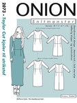 Onion 2073. Taylor cut kjoler til strikstof.