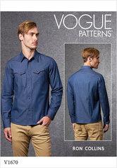 Skjorte til mænd, Ron Collins. Vogue 1670.