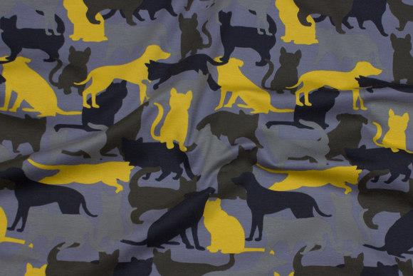 Grå bomuldsjersey med gule, army-farvede og sorte katte og hunde