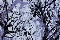 Hvid bomuldsjersey med grene i sort og lys støvlilla