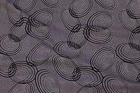Lys polyester mousselin med sort cirkelmønster