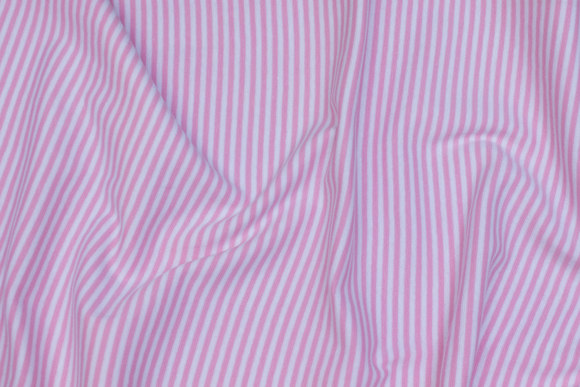 Ribstof smalstribet lyserød og hvid