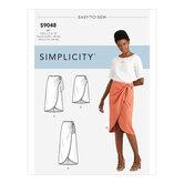 Sarong nederdel med pleatsgather. Simplicity 9048.