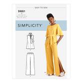 Toppe, bælte eller tørklæde og bukser. Simplicity 9051.