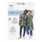 Mens og teens jakke og hætte. Simplicity 9052.