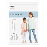 Piger storstørrelse toppe. Simplicity 9054.