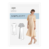Kjole med længde, ærme- og stofvariationer. Simplicity 9099.