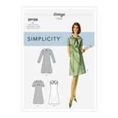 Vintage kjoler med ærme og halsudskæring-variation. Simplicity 9104.