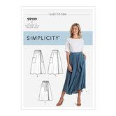 Slå-om nederdele i længder med binding. Simplicity 9109.