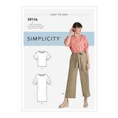 Kjole, toppe med ærmevariation og bukser med bælte. Simplicity 9116.