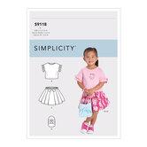 Småbørn toppe, nederdele og taske. Simplicity 9118.